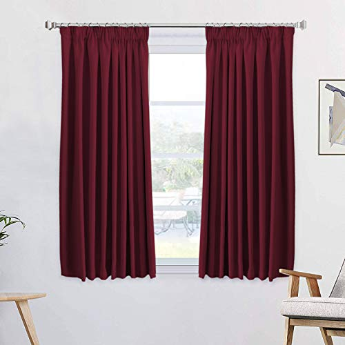 Thermal Insulated Bedroom Blackout Curtains Pencil Pleat Thermal Insulated Curtains Pair for Kids' Bedroom with Two Tie Backs, Energy Saving & Noise Reducting, 46' Width x 54' Drop, Burgundy 2 Panels