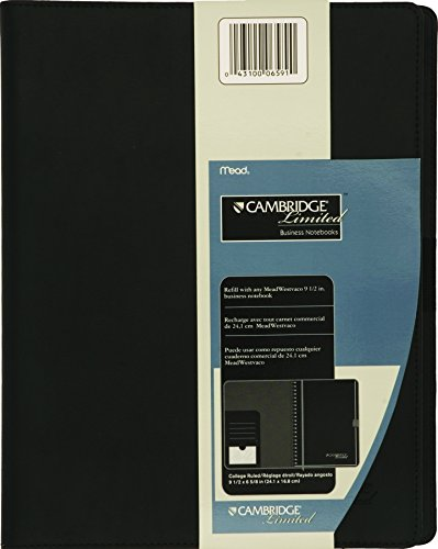 "Mead Business Notebook Cover, Portfolio, Padfolio, Refillable, Business Card / Pen Holder, 11"" x 8-1/2"", Black (06591)"