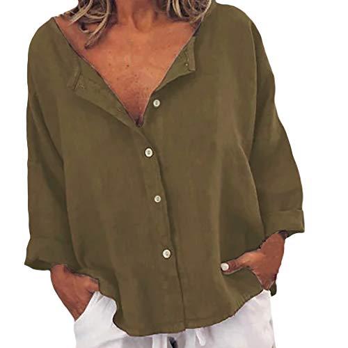 SHINEHUA linnen blouse dames hemdblouse casual V-hals knopen tops los dagelijks blouse shirt tops vrije tijd lange mouwen t-shirt top elegant shirt met lange mouwen XX-Large bruin