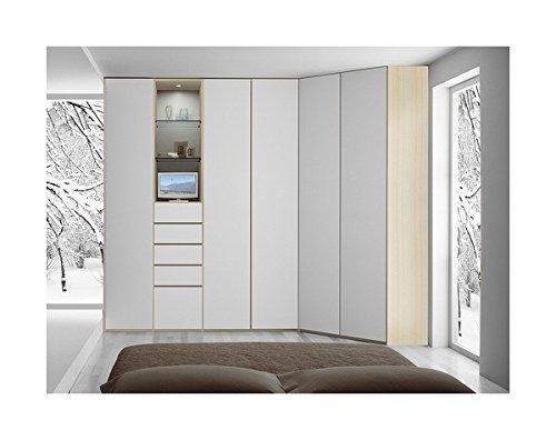 Arosio Bernardel - Armadio ad angolo con elemento avente cassettiera esterna. Struttura in frassino live e ante laccate bianco neve opaco. VERO LEGNO, cm 332 x 130