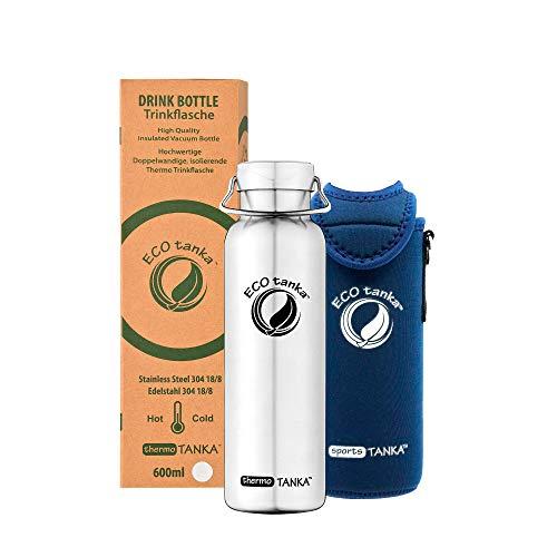 ECOtanka thermoTANKA Trinkflasche aus doppelwandigem Edelstahl 0,6 Liter auslaufsicher - Wasserflasche BPA frei mit Wave Verschluss + Kooler 800ml