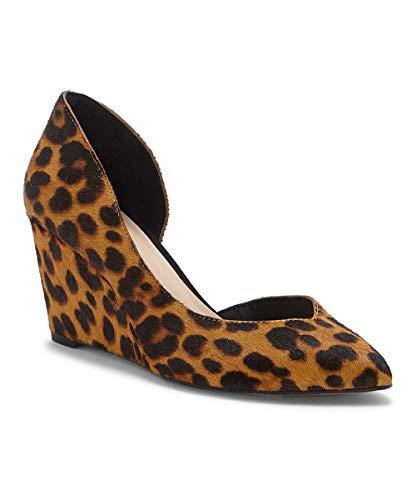 1. State Melman Leopard Wedge Low Heel D'Orsay Pointed Toe Low Cut Dress Pumps (8.5, Brown Multi)