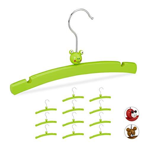 Relaxdays Perchas Infantiles, Set de 12 Unidades, para Ropa de Niños y Bebés, Diseño Alegre de Rana, Madera, Verde