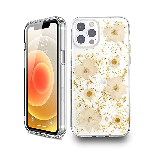 KILIKALA Gold Foil Flower Pressed Dry Real Floral Phone Case Compatible with iPhone 12/12 Pro, Glitter Luxury Real Flower Case, Soft Clear Flexible TPU Natural Flower Phone Case for Girls Women