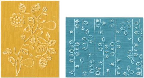 Sizzix Textured Impressions–Plantillas para 2pk–Pear and Vines Juego–Basic Grey