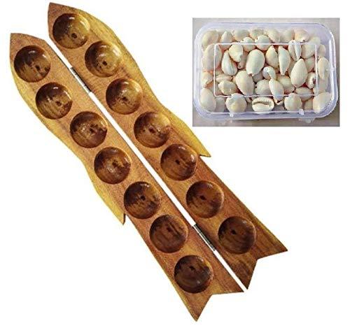 JAYAM Wooden Pallankuli Set(Yellow) with Shells & Box