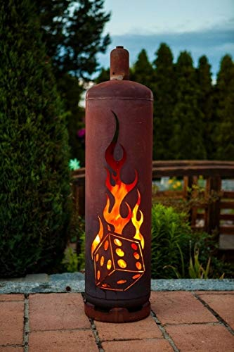 Ferrum Art Design Feuertonne Gasflasche Würfel Feuersäule Feuerkorb Feuerstelle Edelrost Höhe: 125cm Ø: 30cm
