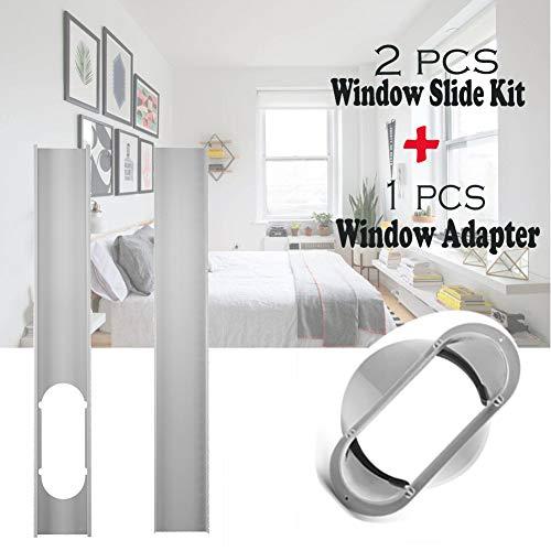 Set mit 1 x 15,2 cm (6 Zoll) großem Fensteradapter und 2 x verstellbaren Fensterbausatzplatten, Rohrverbinder, tragbar für Klimaanlagen