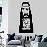 wopiaol Hippie Peace Love Music Vinyl Wall Decal Quotes Music Wall Decor Stickers Removable Living Room Dormitorio Decoración Mural
