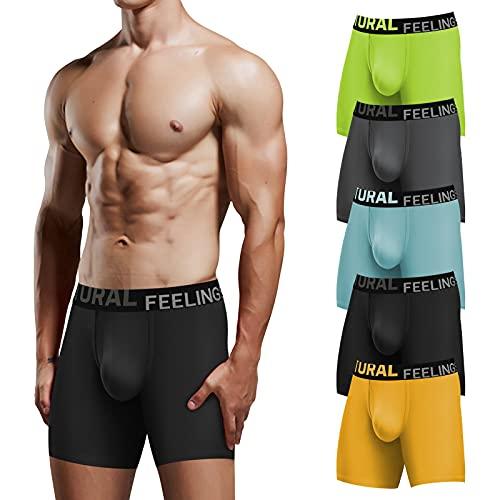 Natural Feelings Boxer Briefs Mens Underwear Soft Cotton Men's Boxer Briefs Men Pack Underwear with Open Fly