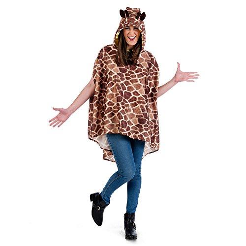 Elbenwald Kostüm Poncho Giraffe weiß braun Party Gag zum Karneval - M