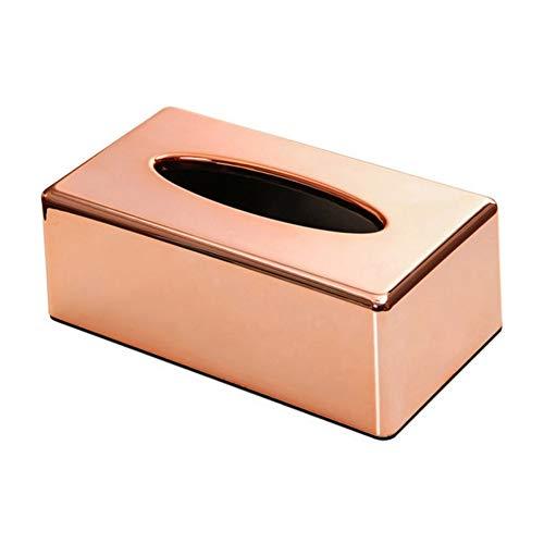 KingbeefLIU Elegante Office Home Rectangle Tissue Paper Holder Box Servilleta Contenedor Fácil De Instalar Ahorre Espacio Limpio Y Hermoso Oro Rosa