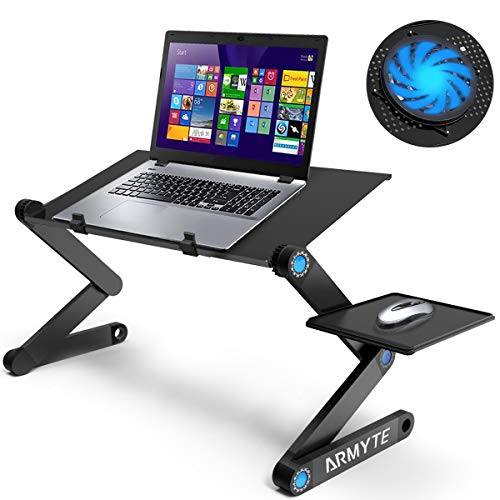 Ultra-Large (Tray size: 19'') Adjustable Laptop Stand, Foldable Aluminum Laptop Desk/Table, Office Laptop Riser with Large Cooling Fan & Mouse Pad, Lightweight Portable Bed/Sofa/Couch Lap Tray (Black)