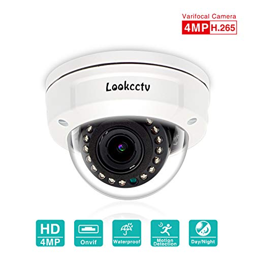 lookcctv POE Vandalismebestendige IP-domecamera, 4MP waterdichte beveiligingscamera, nachtzicht videobewakingscamera, 2,8-12 mm varifocale lens, bewegingsdetectiealarm, compatibel met ONVIF NVR