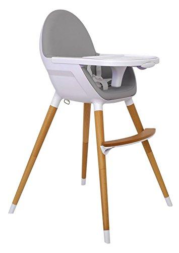 Olmitos Chaise haute en bois 2 en 1 Design anatomique et minimaliste Gris clair + cadeau de sac organisateur