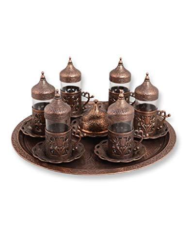 Trmade Traditionelle dekorierte antike Tulpe Ottomane türkisch griechisch arabisch Teeservice Set (6 Stück) Flat Tray Antique Copper