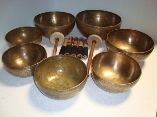 Juego de 7 cuencos tibetanos para curación de chakras, tibetanos, antiguos, del Himalaya,...