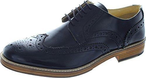 Roamers - Zapatos Gibson Cubiertos con Acentos y Suela de Resina con Cinco Ojales para Hombre (44 EU) (Negro)
