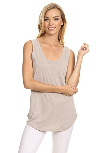 Fashion Cafe Botanic Slub Sleeveless Scoop Neck Tank Top Chateam Gray L