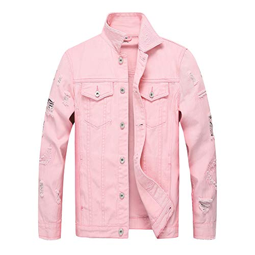 Mens Classic Ripped Slim Fit Denim Jean Pink Jacket with Holes