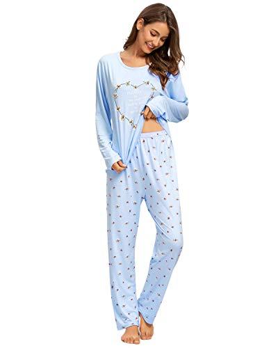 GOSO Conjunto Pijamas para Mujer-Pijamas para Mujer Cartoon Print Top de Manga Corta y Pantalones Sleepwear Conjuntos de salón Suave para Dormir