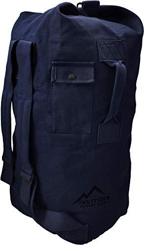 normani Seesack aus reißfestem Canvas-Material mit Doppelgurt und Metallverschluss - 100% Baumwolle Farbe Marine Größe 50 Liter