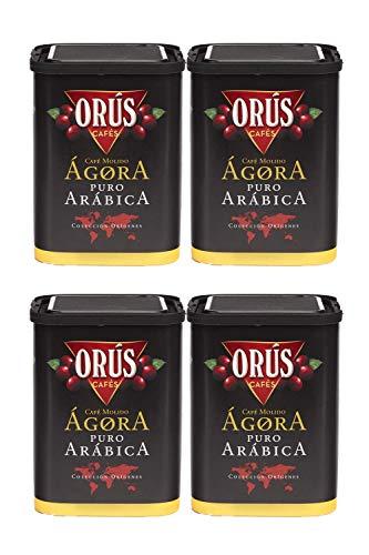 Café molido 100% Arábica - Pack de 4 estuches (250 gramos cada uno) - Cafés Orús.