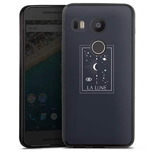 DeinDesign Silikon Hülle kompatibel mit Google Nexus 5X Hülle schwarz Handyhülle Mond Sterne Tarotkarte
