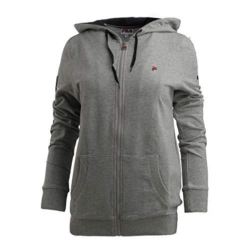 Fila Sudadera con capucha para mujer, color gris claro, azul oscuro, talla S