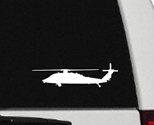 Maxx Graphixx Decal - Helicopter - Blackhawk Helicopter Silhouette Vinyl Decal - Military Car Decal - H2 (3' x 10', White)