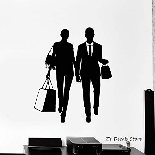 Einkaufen Silhouette Wandtattoos Paar Griff Tasche Schaufenster Aufkleber Abnehmbare Tapete Heißer Verkauf Wandtattoo colore-3 84x102cm