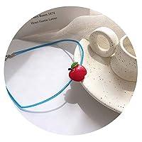 COYIKE小花可爱苹果襟女性チョーカー韓国楽しいボタンシリコーンロープネックレスX330