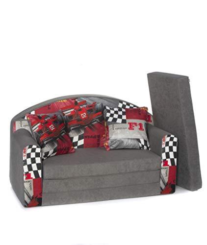 Divano divanetto bambini e cuscino e puff mini divano transformabile in lettino ((3FR) FERRARI)