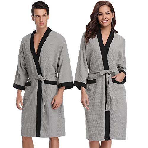 Aibrou Unisex Albornoz Mujer Hombre Primavera Verano Batas y Kimonos Invierno con Cinturón, Muy Suave Cómodo Fino Ligero y Agradable para Hombre o Mujer