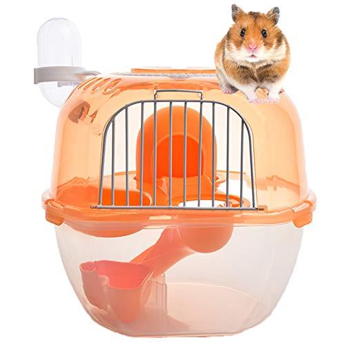 NXL Creativo Portátil Pequeño Animal Carrier Carry Case Jaula para Hamster Sirio Enano Hamster Mouse Y Pequeños Animales Color Aleatorio,Naranja