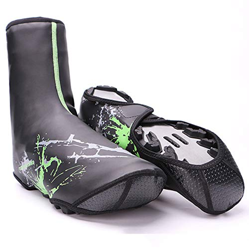 MKWEY Cubrezapatillas De Ciclismo Térmicas Hombre Impermeable Invierno, Funda Zapatos Bicicleta Neopreno Cálido Resistente Viento, Cubrezapatos Antideslizantes Reflectantes Duraderos,Verde,L