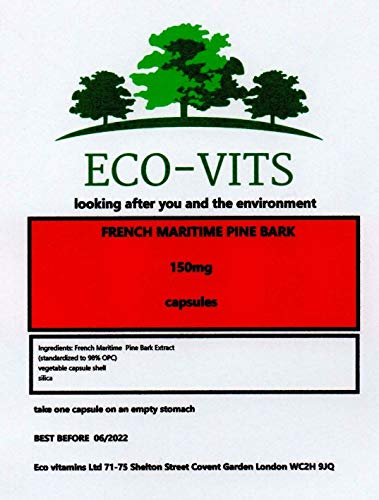 ECO-VITS French Maritime Pine BARK (150MG) 365 CAPS. Biodegradable Packaging. Sealed Pouch