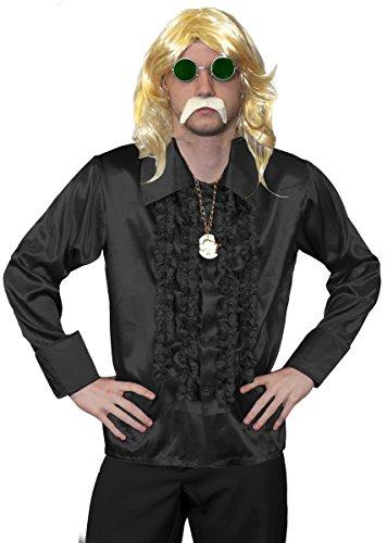Disfraz DE Discoteca DE LOS 70 para Hombre - Peluca Largo Rubia para Hombre, Camisa DE Discoteca Negra, MEDALLN DE Oro, Gafas Verdes, Bigote Rubio - Disfraz Funky (PEQUEO)