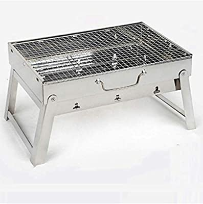 Charcoal Grill Stainless Steel Folding Portable Grill BBQ Tool Kits for Outdoor Cooking Camping Hiking Picnic Patio Smokers 16.5 x11.4 x 8.6 inch (Silver)