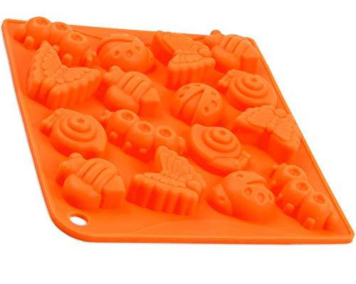 Silikonform mit 16 Insekten, Eiswürfelform, Pralinenform Bienen, Schokoladeform, Giessform, Silicone Mold, Seifenform, Kuchenverzierung, Schmetterling, Raupe, Käfer, Farbe: Orange
