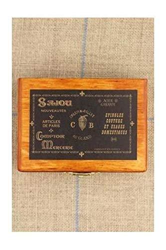 1pc Sajou di Legno francese in Miniatura Ricamo Pin Ago Scatola di Immagazzinaggio di Luneville Gancio Tamburo Sartoria Filo di Punto Croce Spilla 7cm x 5cm