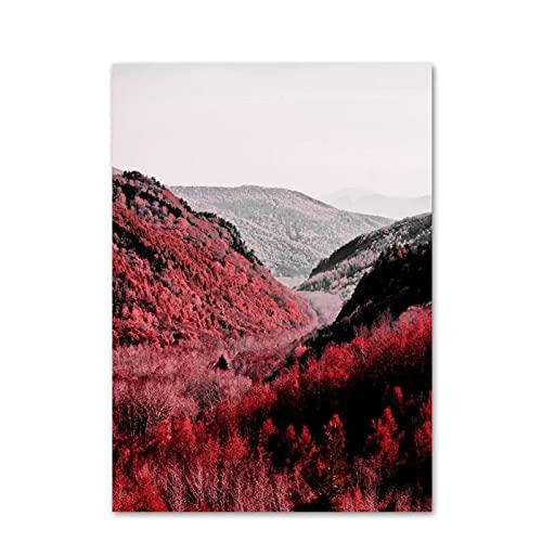 Árbol de hoja de arce rojo Paisaje de montaña Arte de la pared Pintura en lienzo Carteles nórdicos e impresiones Imágenes para la sala de estar Decoración para el hogar-50x70cmx1pcs -Sin marco