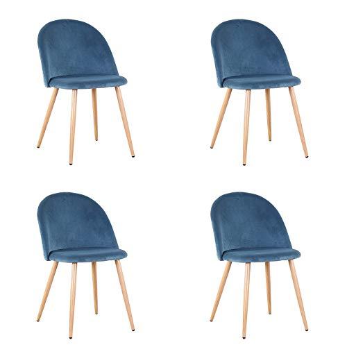 Pack de 2/4 sillas de Comedor ,Cojines de Terciopelo Suave Asiento,Sillas de Cocina para Comedor y Sala de Estar (Azul-4)