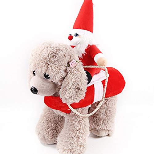 Winnfy Traje de equitacin para mascotas Suministros de mascotas Pap Noel traje de equitacin perro gato Navidad traje de vacaciones Mascotas Cosplay Disfraces fiesta vestir perros gatos ropa
