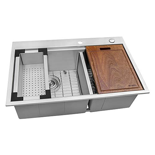 Ruvati 33 x 22 inch Workstation Drop-in 60/40 Double Bowl Topmount Tight Radius 16 Gauge Stainless Steel Ledge Kitchen Sink - RVH8035