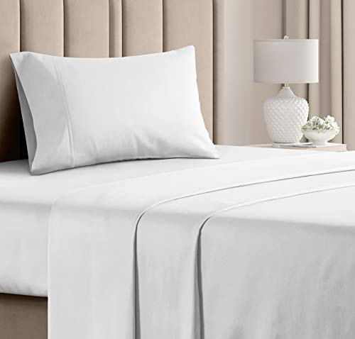 100% Cotton Twin Size Sheets White (3pc) Silky Smooth, Cooling 400 Thread Count Long Staple Combed Cotton Twin Sheet Set – Pure 400TC High Thread Count Twin Sheets - Twin Bed Sheets Cotton