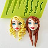 Chocolate card silicone mold baking accessories creative cartoon girl hair gel silicone mold DIY handmade jelly cake baking tools-random color