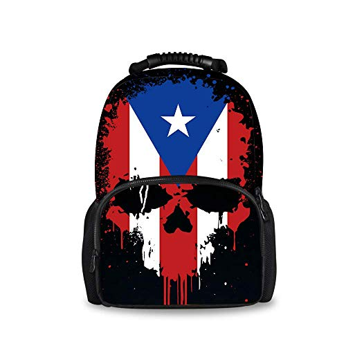 Back To School Gift - Camping Outdoor Backpack Gym Outdoor Hiking Bag Big Capacity Daypack Puerto Rico Flag Skull College School Bookbag for Women Men