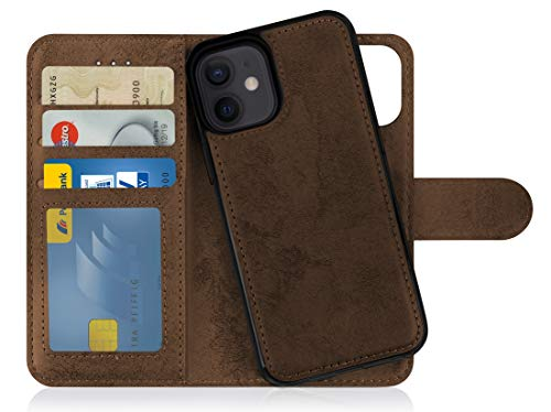 MyGadget Funda Flip Case con Tapa Tarjetera para Apple iPhone 12 Mini en Cuero PU - Carcasa Cerrada con 9 Bolsillos - Cubierta Magnética Separable - Marrón