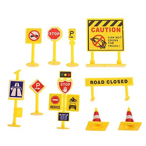 YARNOW 5 Set de Letreros de La Calle Set de Juego Educativo para Niños Semáforo de Juguete 50Pcs Letreros de La Calle Pistas de Obstáculos para Bicicletas Camiones de Juguete Y Scooters